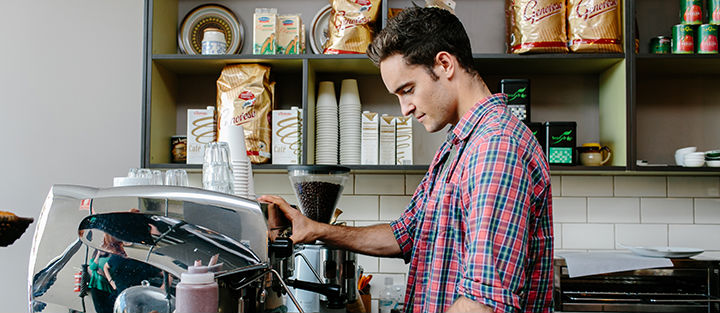 Male Barrista making a coffee